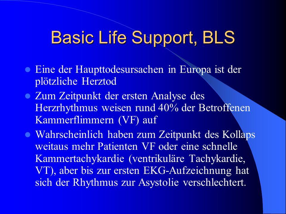 Basic Life Support, BLS Eine der Haupttodesursachen in Europa ist der plötzliche Herztod Zum Zeitpunkt der ersten Analyse des Herzrhythmus weisen rund