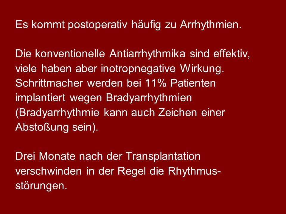 Es kommt postoperativ häufig zu Arrhythmien. Die konventionelle Antiarrhythmika sind effektiv, viele haben aber inotropnegative Wirkung. Schrittmacher