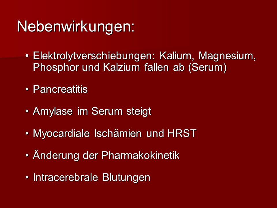 Nebenwirkungen: Elektrolytverschiebungen: Kalium, Magnesium, Phosphor und Kalzium fallen ab (Serum)Elektrolytverschiebungen: Kalium, Magnesium, Phosph