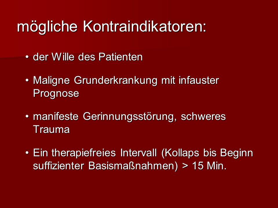 mögliche Kontraindikatoren: der Wille des Patientender Wille des Patienten Maligne Grunderkrankung mit infauster PrognoseMaligne Grunderkrankung mit i