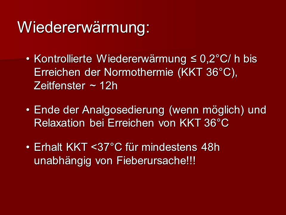 Wiedererwärmung: Kontrollierte Wiedererwärmung 0,2°C/ h bis Erreichen der Normothermie (KKT 36°C), Zeitfenster ~ 12hKontrollierte Wiedererwärmung 0,2°