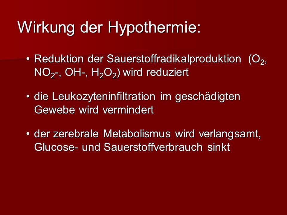 Wirkung der Hypothermie: Reduktion der Sauerstoffradikalproduktion (O 2, NO 2 -, OH-, H 2 O 2 ) wird reduziertReduktion der Sauerstoffradikalproduktio
