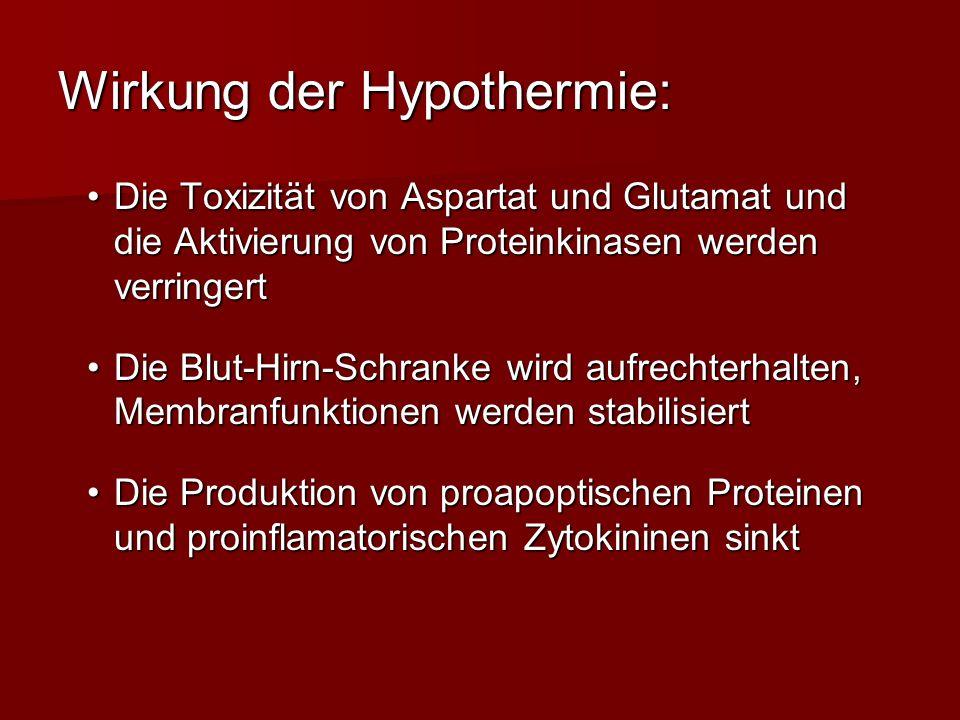 Wirkung der Hypothermie: Die Toxizität von Aspartat und Glutamat und die Aktivierung von Proteinkinasen werden verringertDie Toxizität von Aspartat un