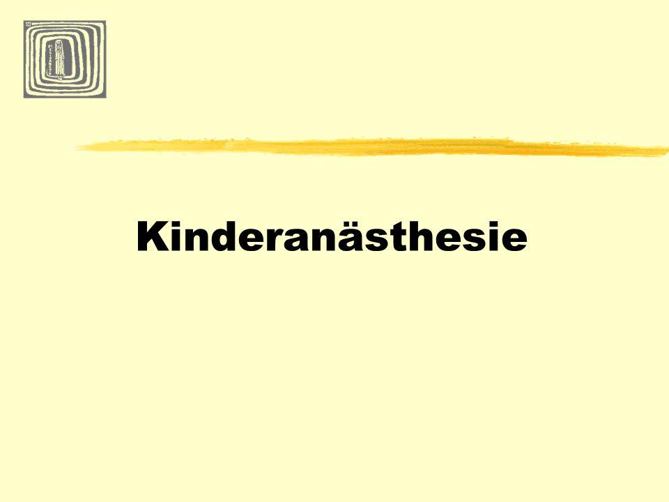 PONV die genaue Pathophysiologie ist nicht bekannt PONV ist die häufigste postoperative Komplikation im Kindesalter Kinder unter 3 Jahren sind fast nie betroffen über 3 Jahren steigt die Inzidenz bis auf 89% (?) PONV ist die häufigste Ursache einer ungeplanten stationären Aufnahme bei ambulanten Eingriffen erhöhte PONV Raten bei Strabismus OP und Tonsillektomie hier ist eine prophylaktische Gabe von Dexamethason (0,15mg/kg) effektiv in Hinblick auf weniger PONV, bessere Analgesie und schnelleren Kostaufbau