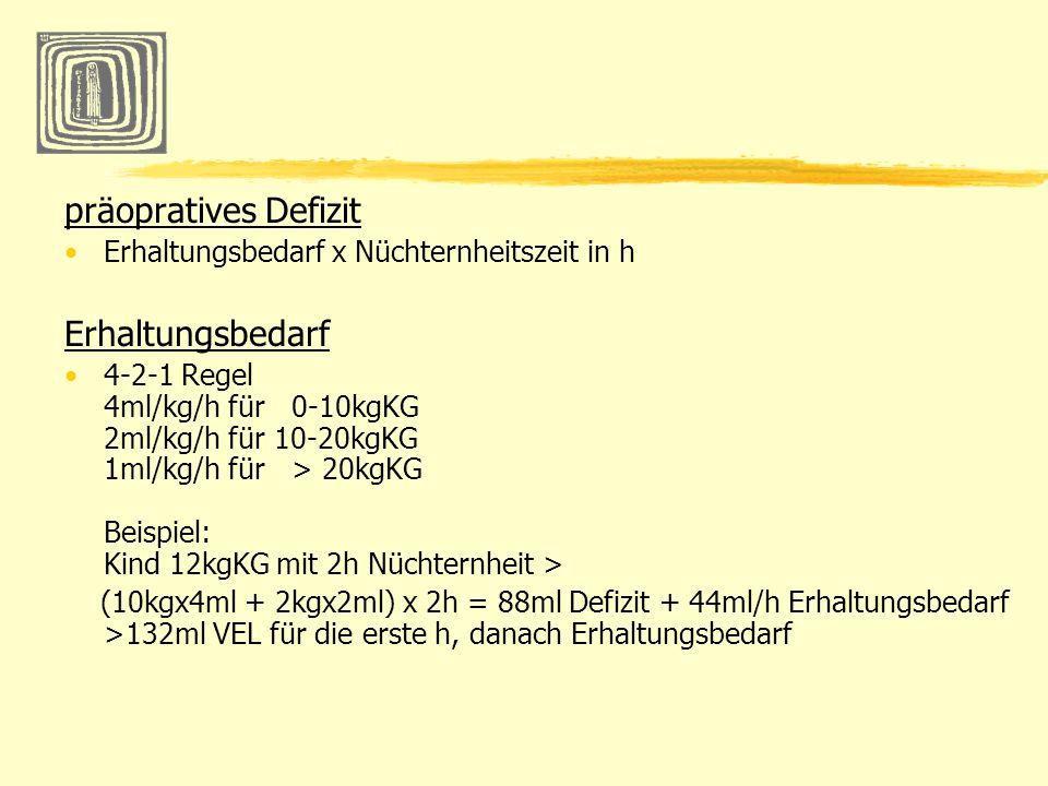 präopratives Defizit Erhaltungsbedarf x Nüchternheitszeit in h Erhaltungsbedarf 4-2-1 Regel 4ml/kg/h für 0-10kgKG 2ml/kg/h für 10-20kgKG 1ml/kg/h für