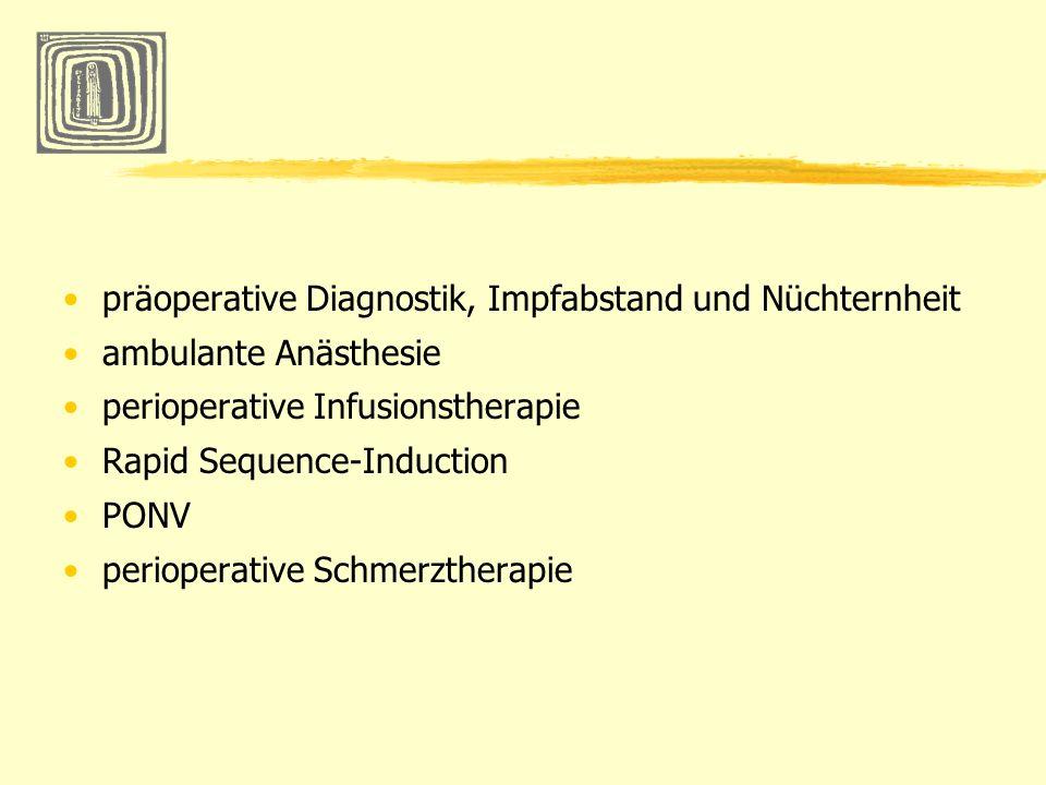 PONV Prophylaxe eine generelle Einfachprophxlaxe wird nicht empfohlen Ausnahme Strabismus OP und Tonsillektomie TIVA als Narkosekonzept (kein N²O) Medikamente bei Kindern Dexamethason 0,15mg/kgKG Odansetron 0,10mg/kgKG Dimenhydrinat 0,50mg/kgKG Cave Butyrophenone (Haloperidol, DHB) wegen extrapyramidaler Symptomatik