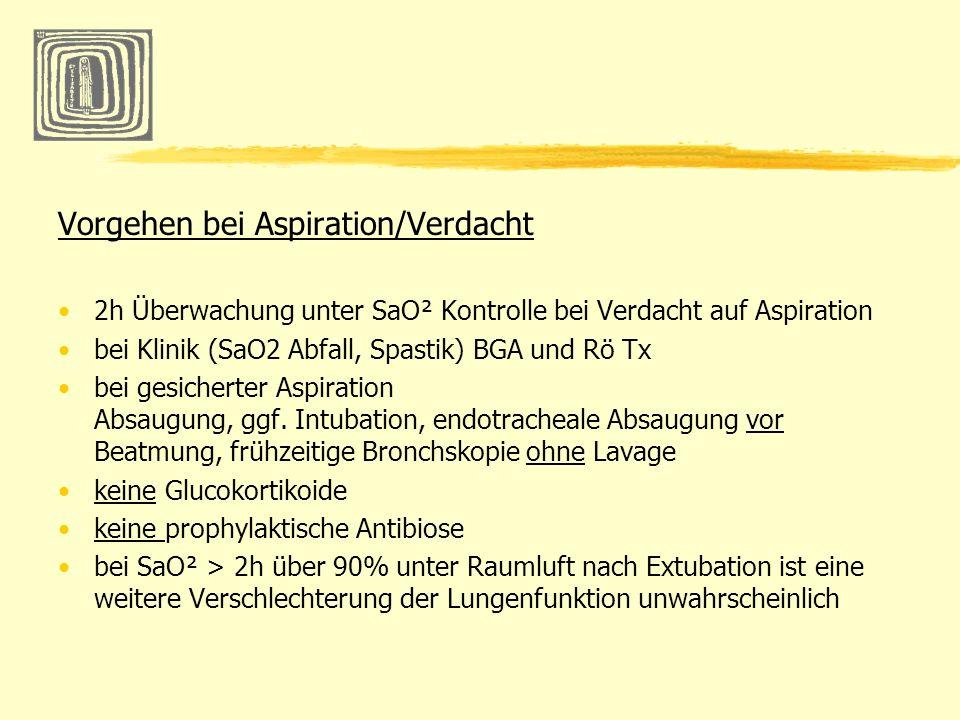 Vorgehen bei Aspiration/Verdacht 2h Überwachung unter SaO² Kontrolle bei Verdacht auf Aspiration bei Klinik (SaO2 Abfall, Spastik) BGA und Rö Tx bei g