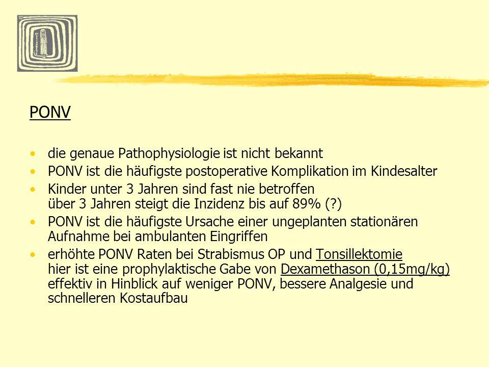 PONV die genaue Pathophysiologie ist nicht bekannt PONV ist die häufigste postoperative Komplikation im Kindesalter Kinder unter 3 Jahren sind fast ni