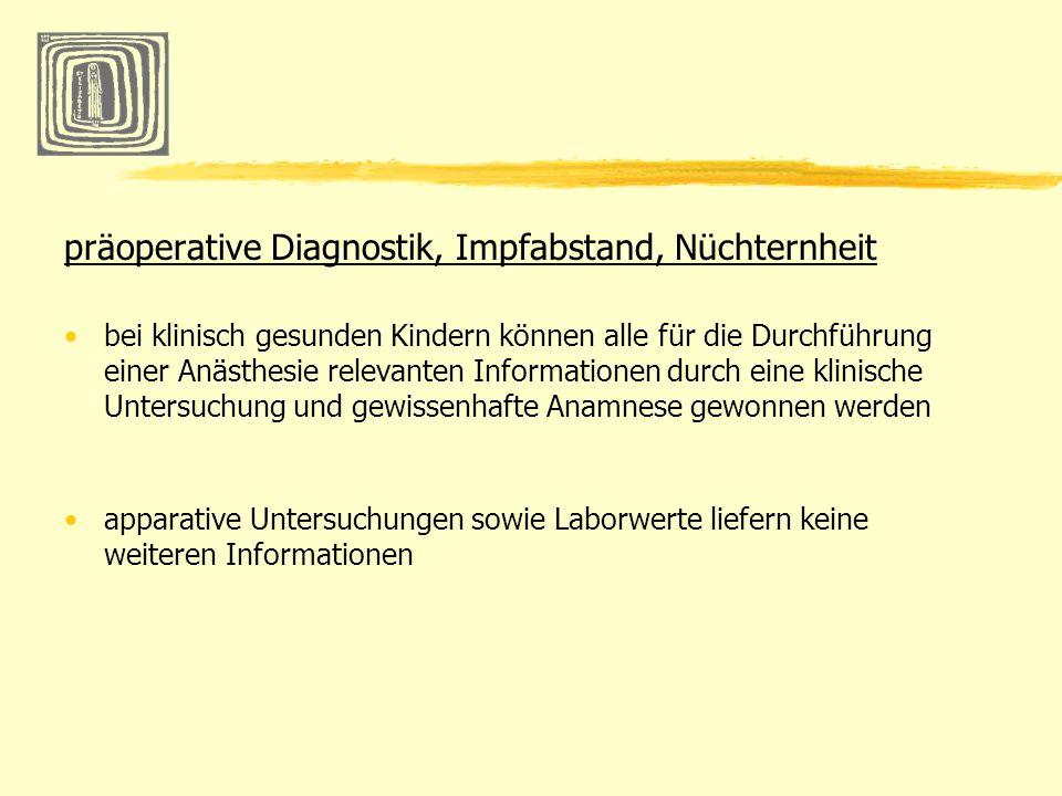 präoperative Diagnostik, Impfabstand, Nüchternheit bei klinisch gesunden Kindern können alle für die Durchführung einer Anästhesie relevanten Informat