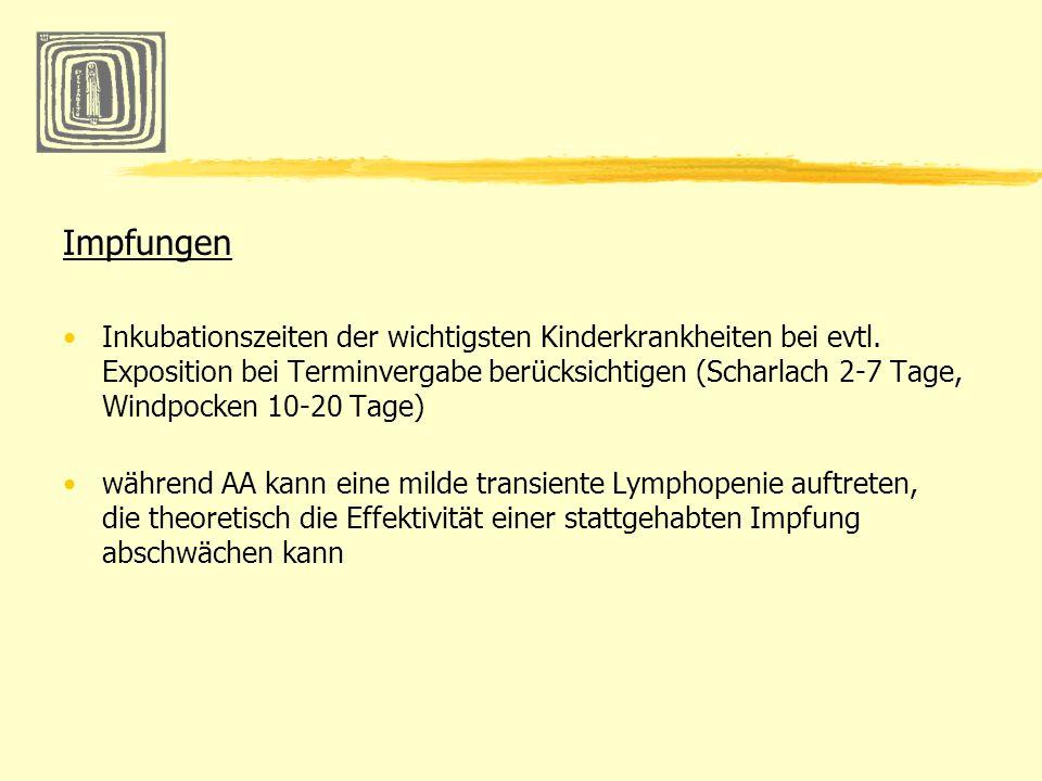 Impfungen Inkubationszeiten der wichtigsten Kinderkrankheiten bei evtl. Exposition bei Terminvergabe berücksichtigen (Scharlach 2-7 Tage, Windpocken 1