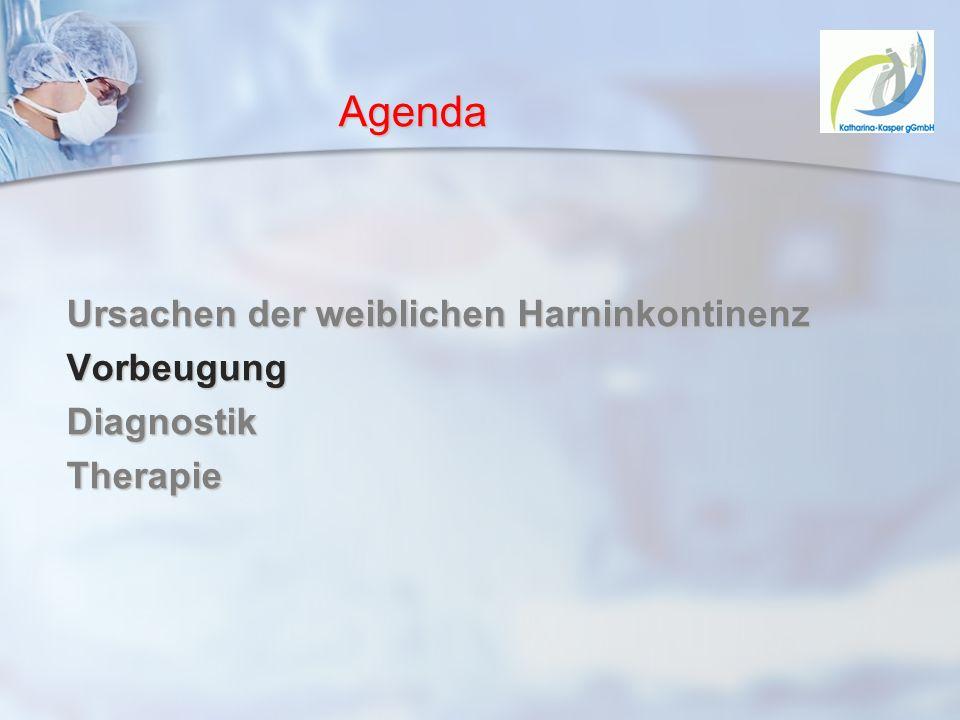 Agenda Ursachen der weiblichen Harninkontinenz VorbeugungDiagnostikTherapie