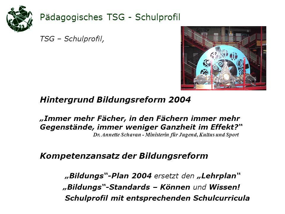 Pädagogisches TSG - Schulprofil TSG – Schulprofil, Hintergrund Bildungsreform 2004 Immer mehr Fächer, in den Fächern immer mehr Gegenstände, immer weniger Ganzheit im Effekt.