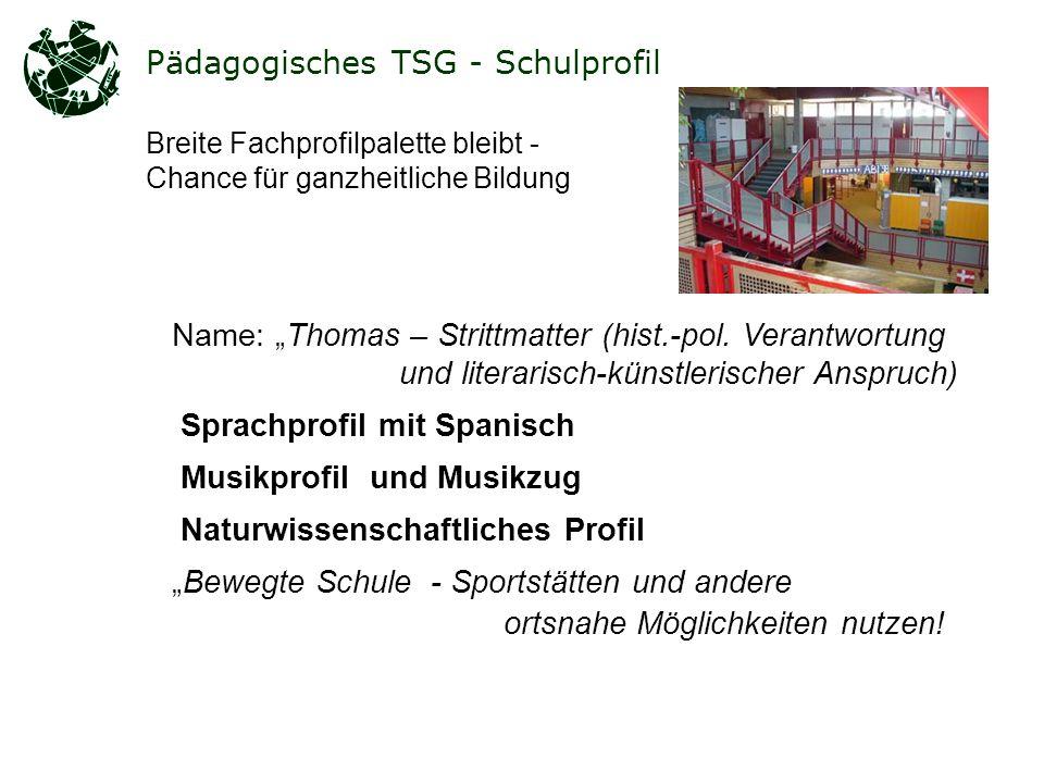 Pädagogisches TSG - Schulprofil Name: Thomas – Strittmatter (hist.-pol.