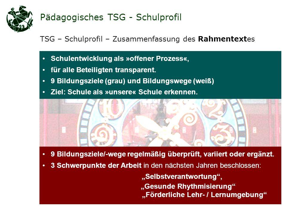 Pädagogisches TSG - Schulprofil TSG – Schulprofil – Zusammenfassung des Rahmentextes Schulentwicklung als »offener Prozess«, für alle Beteiligten transparent.