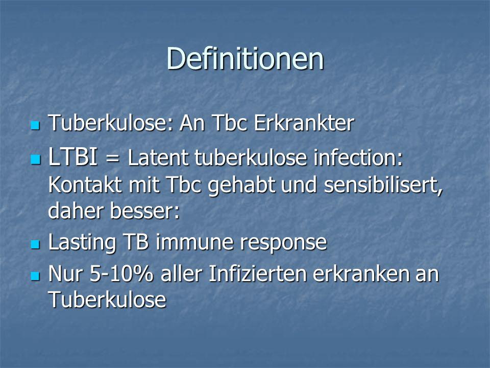 Definitionen Tuberkulose: An Tbc Erkrankter Tuberkulose: An Tbc Erkrankter LTBI = Latent tuberkulose infection: Kontakt mit Tbc gehabt und sensibilise