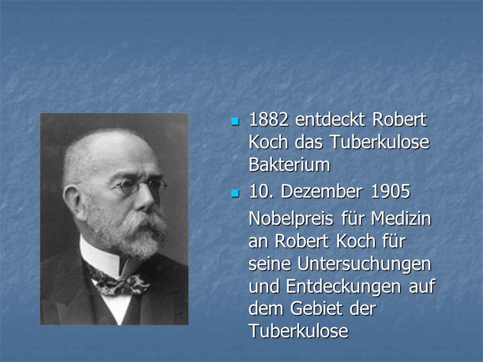 1882 entdeckt Robert Koch das Tuberkulose Bakterium 1882 entdeckt Robert Koch das Tuberkulose Bakterium 10. Dezember 1905 10. Dezember 1905 Nobelpreis