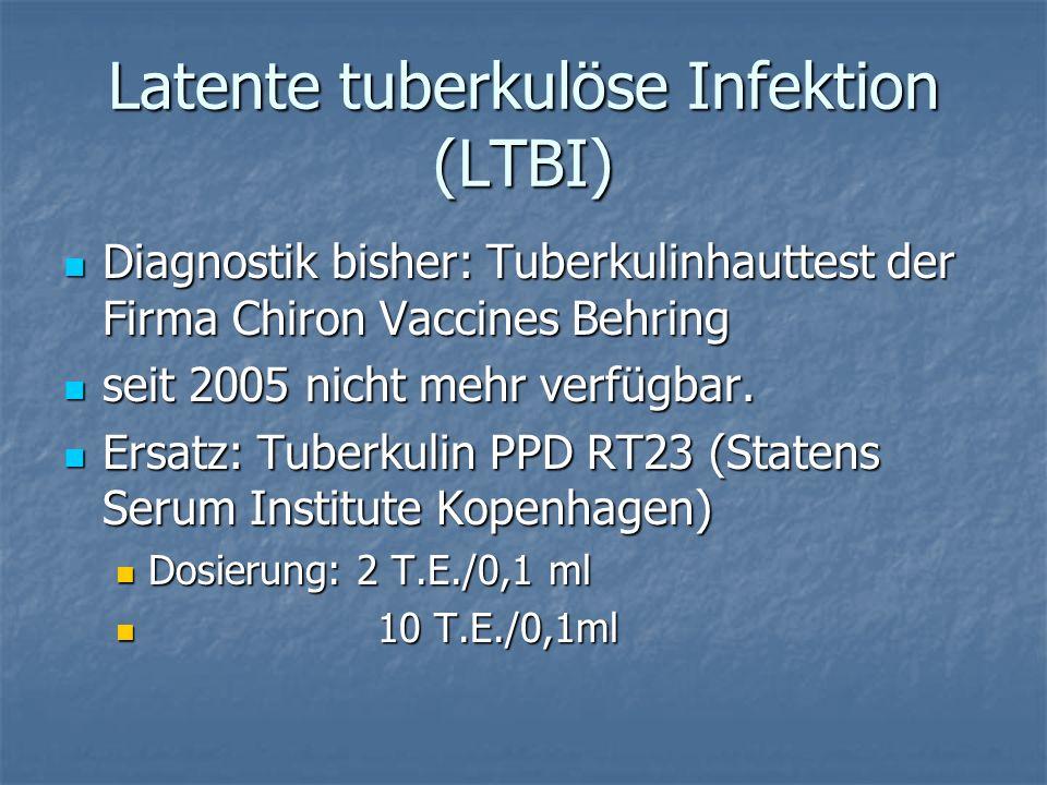 Latente tuberkulöse Infektion (LTBI) Diagnostik bisher: Tuberkulinhauttest der Firma Chiron Vaccines Behring Diagnostik bisher: Tuberkulinhauttest der