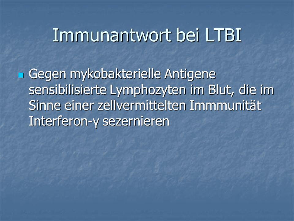 Immunantwort bei LTBI Gegen mykobakterielle Antigene sensibilisierte Lymphozyten im Blut, die im Sinne einer zellvermittelten Immmunität Interferon-γ