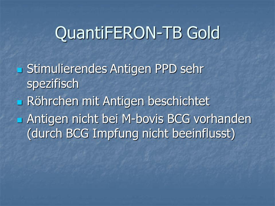 QuantiFERON-TB Gold Stimulierendes Antigen PPD sehr spezifisch Stimulierendes Antigen PPD sehr spezifisch Röhrchen mit Antigen beschichtet Röhrchen mi