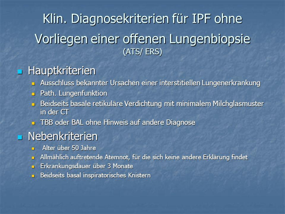 Klin. Diagnosekriterien für IPF ohne Vorliegen einer offenen Lungenbiopsie (ATS/ ERS) Hauptkriterien Hauptkriterien Ausschluss bekannter Ursachen eine