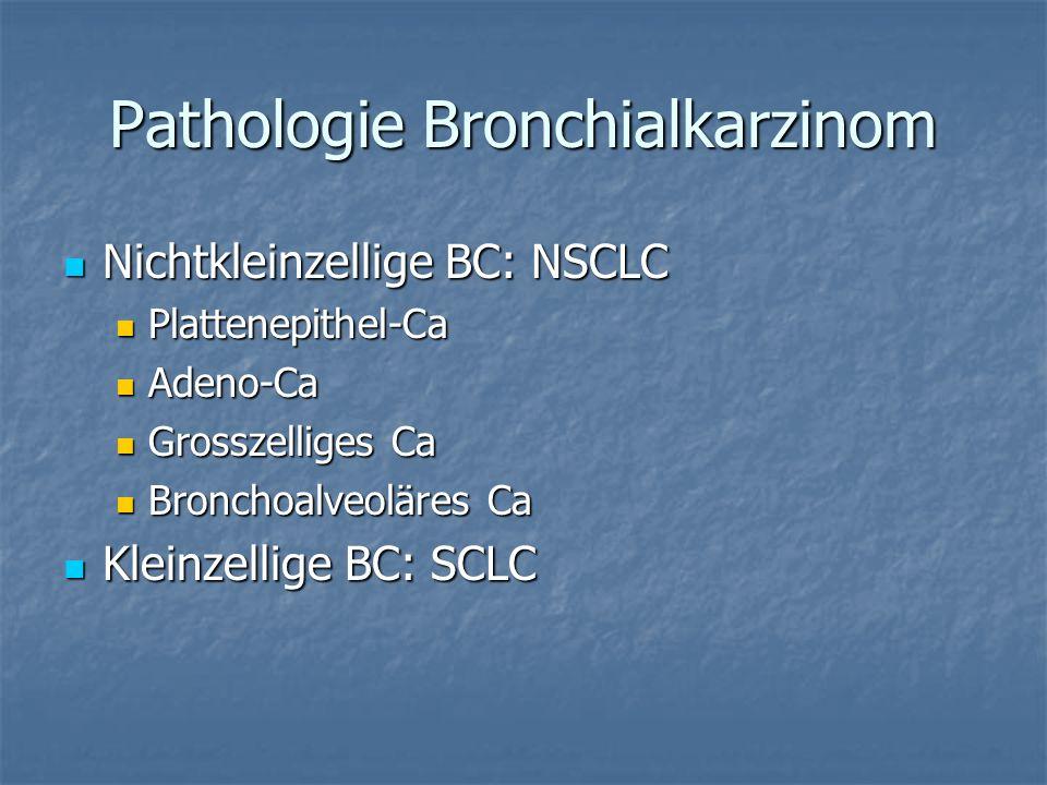 Pathologie Bronchialkarzinom Nichtkleinzellige BC: NSCLC Nichtkleinzellige BC: NSCLC Plattenepithel-Ca Plattenepithel-Ca Adeno-Ca Adeno-Ca Grosszellig