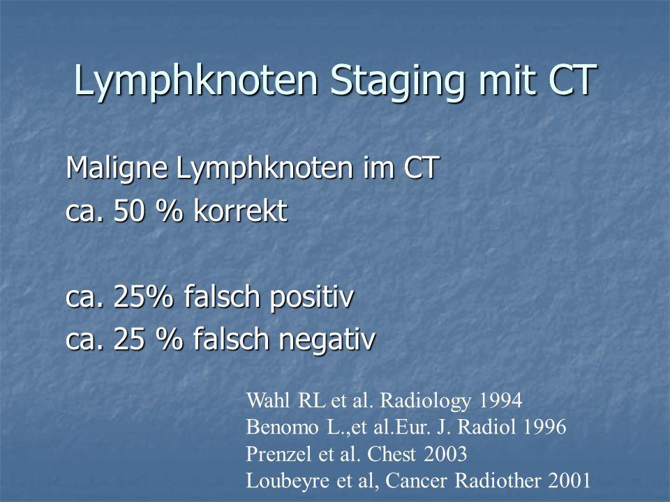 Lymphknoten Staging mit CT Maligne Lymphknoten im CT Maligne Lymphknoten im CT ca. 50 % korrekt ca. 50 % korrekt ca. 25% falsch positiv ca. 25% falsch