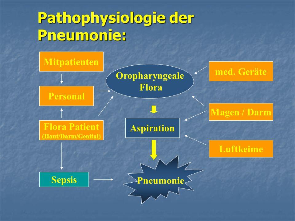 Pathophysiologie der Pneumonie: Aspiration Oropharyngeale Flora Pneumonie Magen / Darm Luftkeime Sepsis Flora Patient (Haut/Darm/Genital) Personal Mit