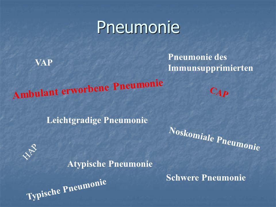 Pneumonie Ambulant erworbene Pneumonie Noskomiale Pneumonie VAP CAP HAP Leichtgradige Pneumonie Schwere Pneumonie Atypische Pneumonie Pneumonie des Im