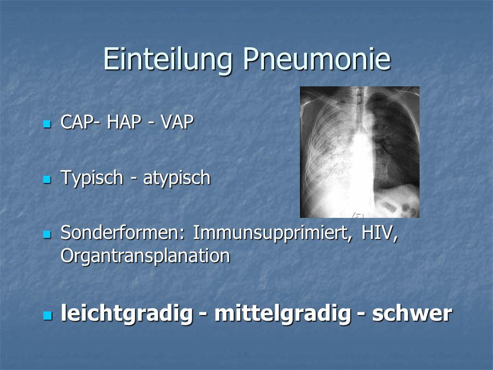 Einteilung Pneumonie CAP- HAP - VAP CAP- HAP - VAP Typisch - atypisch Typisch - atypisch Sonderformen: Immunsupprimiert, HIV, Organtransplanation Sond