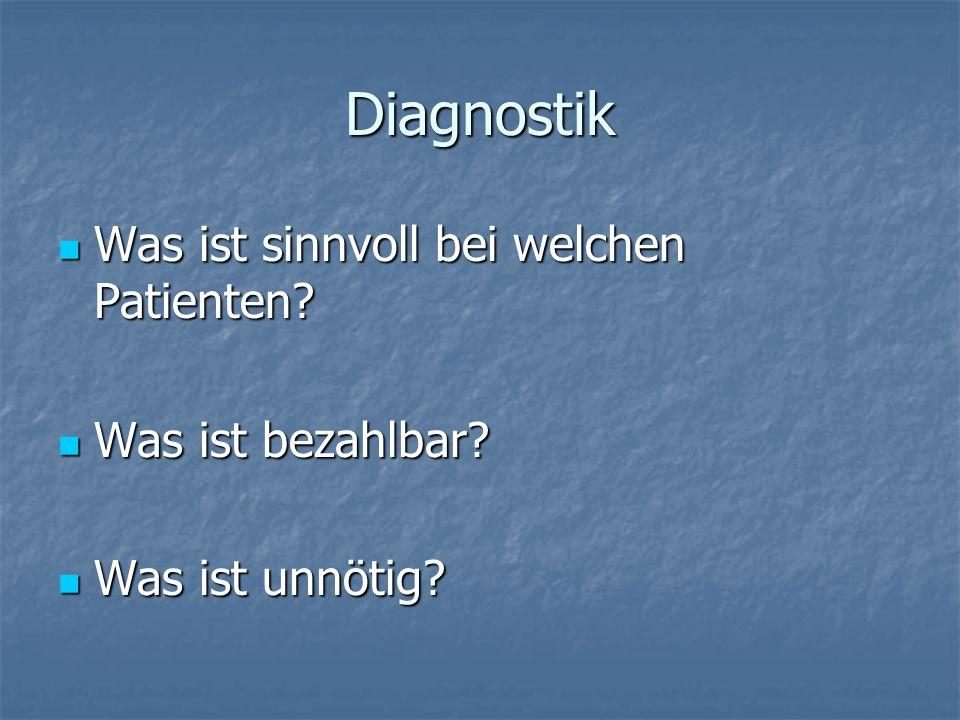 Diagnostik Was ist sinnvoll bei welchen Patienten? Was ist sinnvoll bei welchen Patienten? Was ist bezahlbar? Was ist bezahlbar? Was ist unnötig? Was