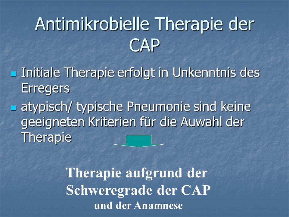Antimikrobielle Therapie der CAP Initiale Therapie erfolgt in Unkenntnis des Erregers Initiale Therapie erfolgt in Unkenntnis des Erregers atypisch/ t