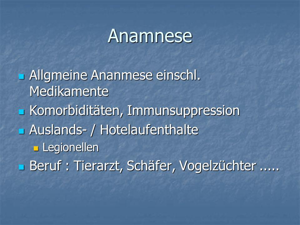 Anamnese Allgmeine Ananmese einschl. Medikamente Allgmeine Ananmese einschl. Medikamente Komorbiditäten, Immunsuppression Komorbiditäten, Immunsuppres
