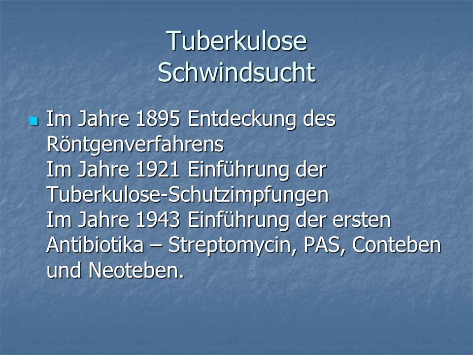 Tuberkulose Schwindsucht Im Jahre 1895 Entdeckung des Röntgenverfahrens Im Jahre 1921 Einführung der Tuberkulose-Schutzimpfungen Im Jahre 1943 Einführ