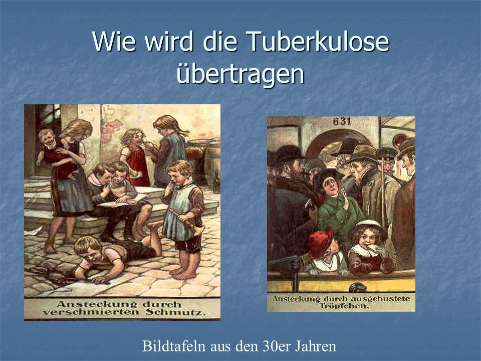 Wie wird die Tuberkulose übertragen Bildtafeln aus den 30er Jahren