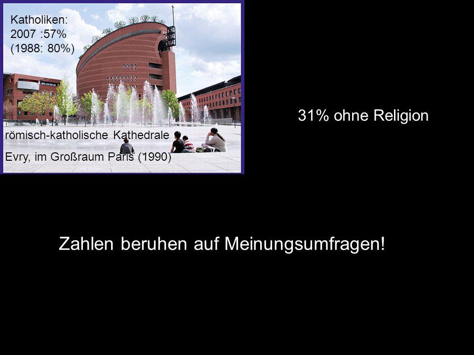römisch-katholische Kathedrale Evry, im Großraum Paris (1990) Katholiken: 2007 :57% (1988: 80%) Zahlen beruhen auf Meinungsumfragen.
