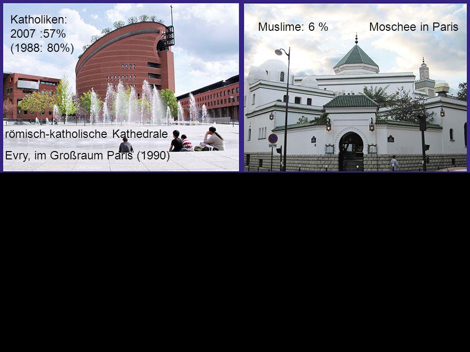 römisch-katholische Kathedrale Evry, im Großraum Paris (1990) Katholiken: 2007 :57% (1988: 80%) Muslime: 6 %Moschee in Paris