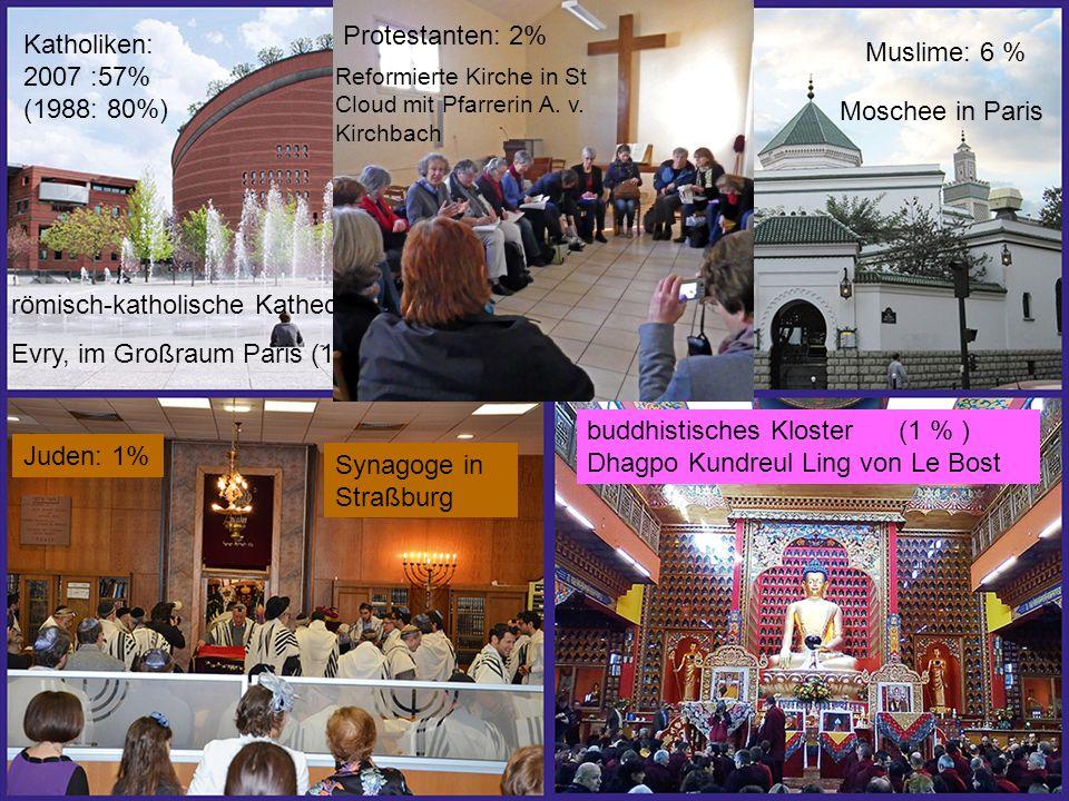 römisch-katholische Kathedrale Evry, im Großraum Paris (1990) buddhistisches Kloster (1 % ) Dhagpo Kundreul Ling von Le Bost Katholiken: 2007 :57% (1988: 80%) Muslime: 6 % Moschee in Paris Reformierte Kirche in St Cloud mit Pfarrerin A.