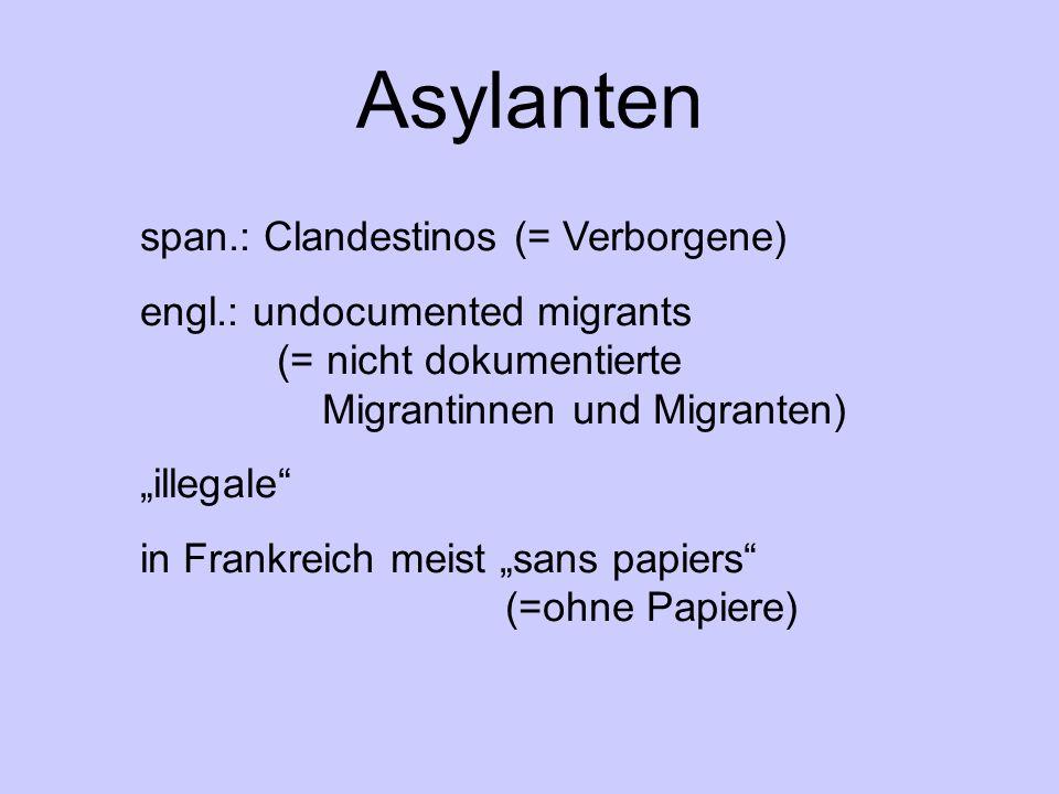 Asylanten span.: Clandestinos (= Verborgene) engl.: undocumented migrants (= nicht dokumentierte Migrantinnen und Migranten) illegale in Frankreich meist sans papiers (=ohne Papiere)