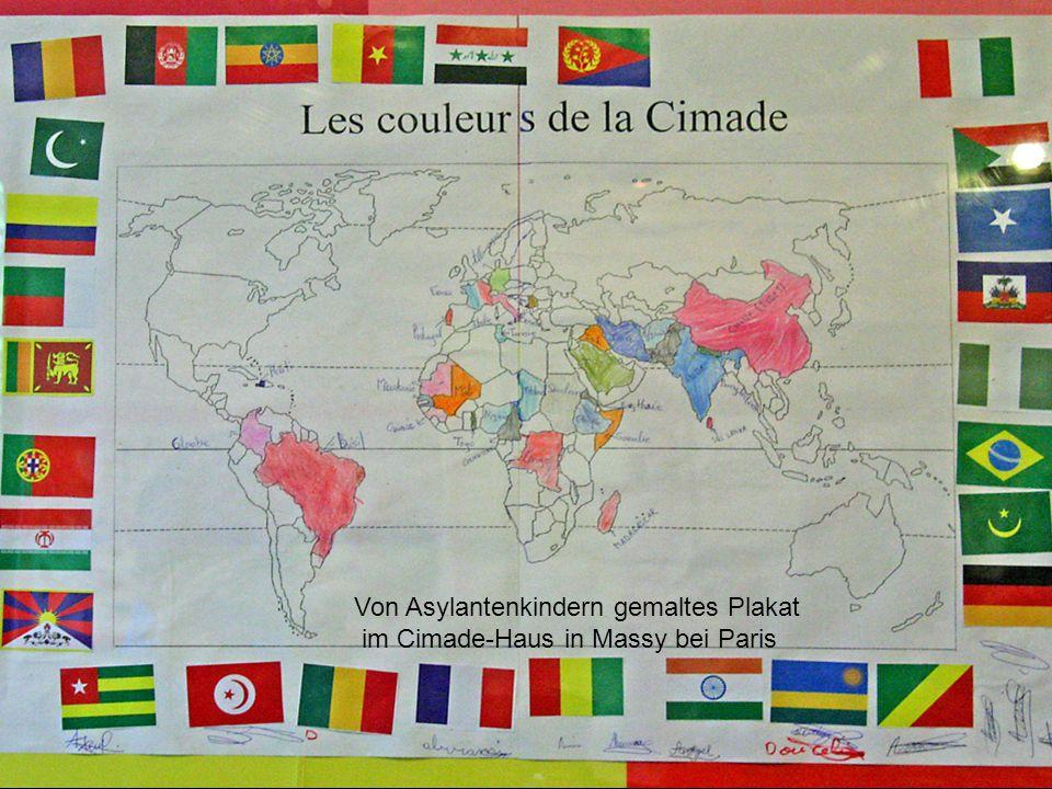 Von Asylantenkindern gemaltes Plakat im Cimade-Haus in Massy bei Paris
