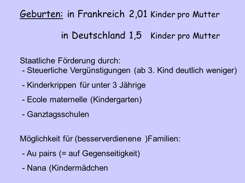 Geburten: in Frankreich 2,01 Kinder pro Mutter in Deutschland 1,5 Kinder pro Mutter Staatliche Förderung durch: - Steuerliche Vergünstigungen (ab 3.