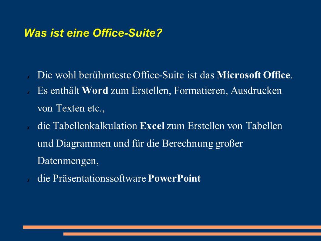 Was ist eine Office-Suite? Die wohl berühmteste Office-Suite ist das Microsoft Office. Es enthält Word zum Erstellen, Formatieren, Ausdrucken von Text