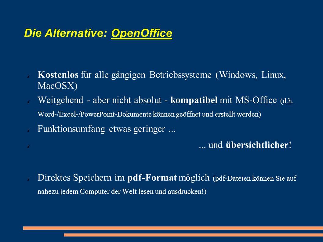 Die Alternative: OpenOffice Kostenlos für alle gängigen Betriebssysteme (Windows, Linux, MacOSX) Weitgehend - aber nicht absolut - kompatibel mit MS-O