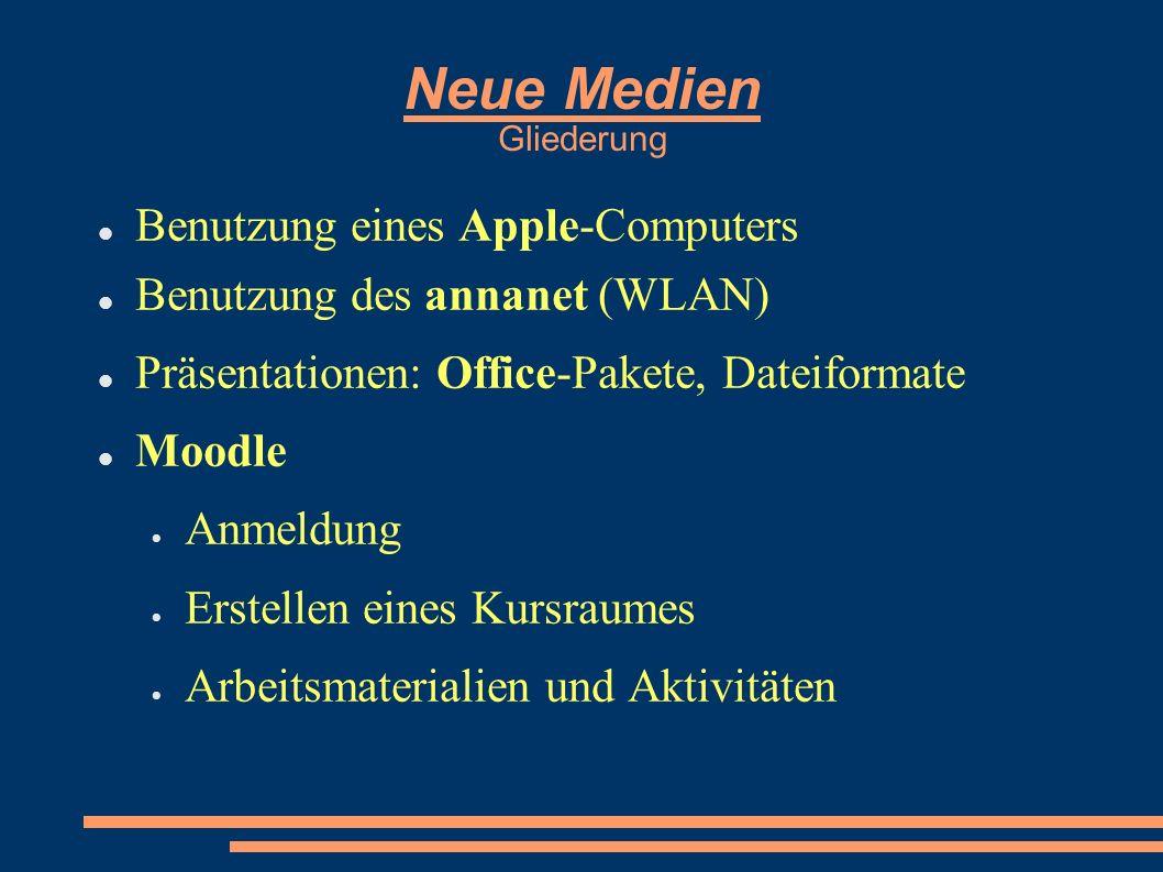 Neue Medien Gliederung Benutzung eines Apple-Computers Benutzung des annanet (WLAN) Präsentationen: Office-Pakete, Dateiformate Moodle Anmeldung Erstellen eines Kursraumes Arbeitsmaterialien und Aktivitäten