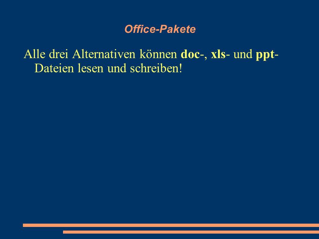 Office-Pakete Alle drei Alternativen können doc-, xls- und ppt- Dateien lesen und schreiben!