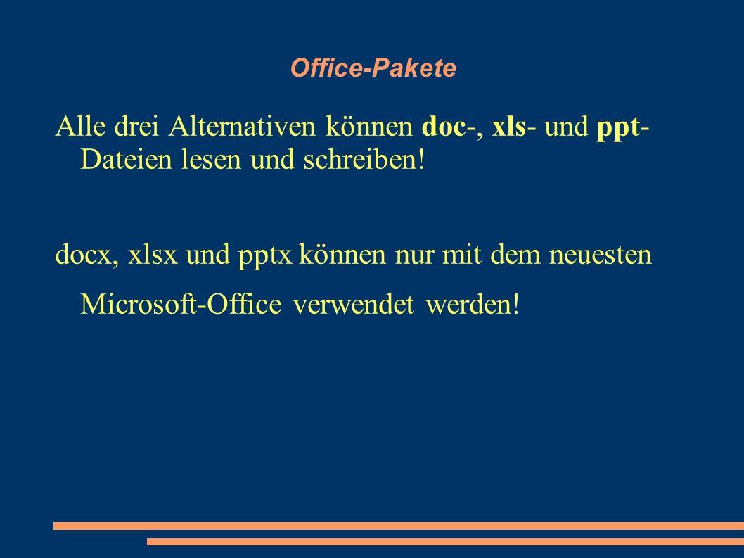 Office-Pakete Alle drei Alternativen können doc-, xls- und ppt- Dateien lesen und schreiben.