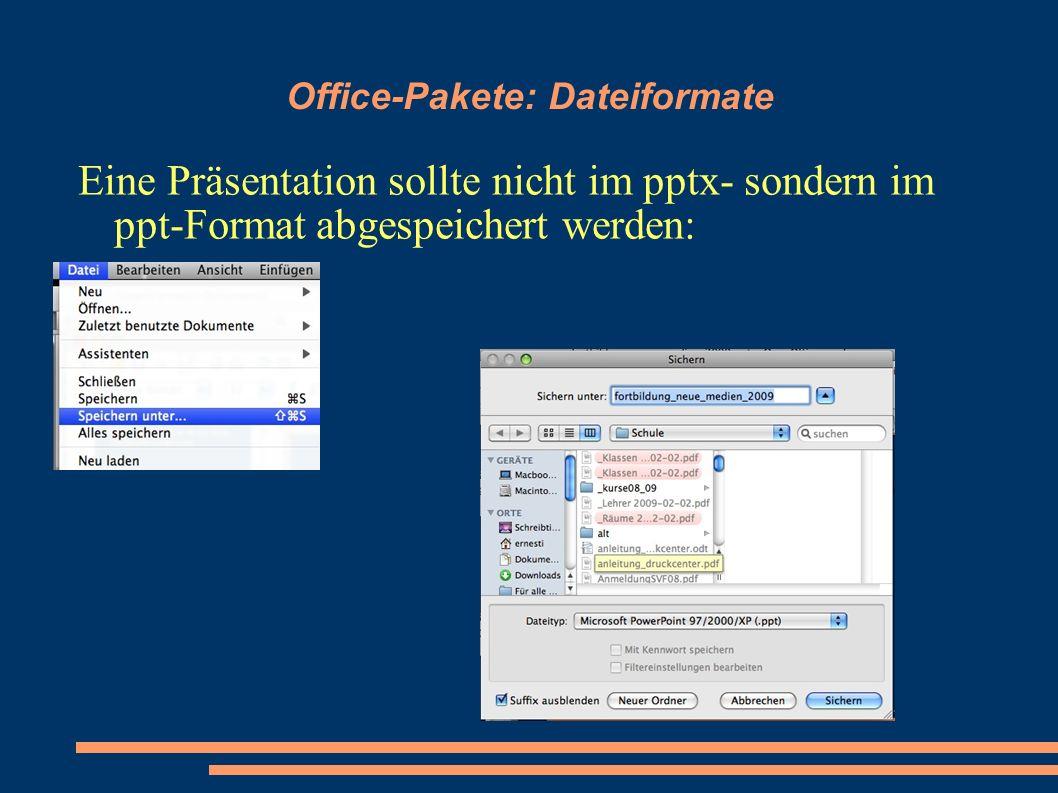 Office-Pakete: Dateiformate Eine Präsentation sollte nicht im pptx- sondern im ppt-Format abgespeichert werden: