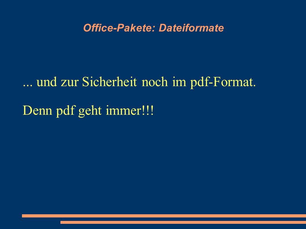 Office-Pakete: Dateiformate... und zur Sicherheit noch im pdf-Format. Denn pdf geht immer!!!