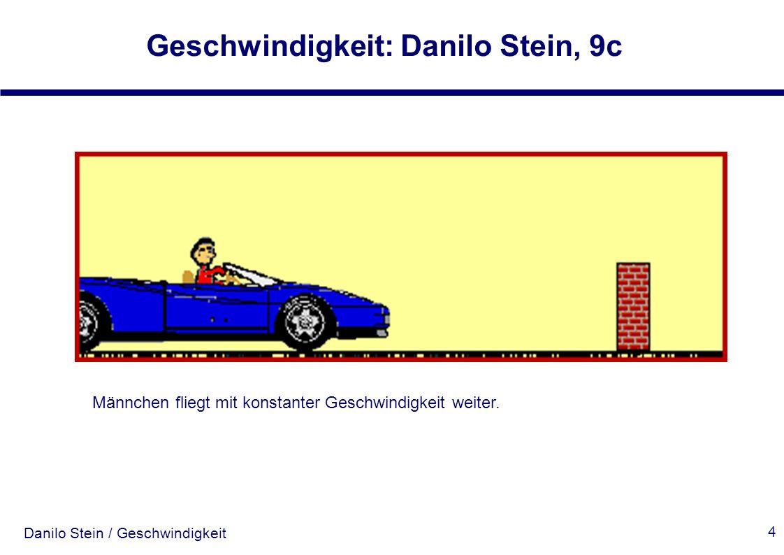 Danilo Stein / Geschwindigkeit Geschwindigkeit: Danilo Stein, 9c 4 Männchen fliegt mit konstanter Geschwindigkeit weiter.