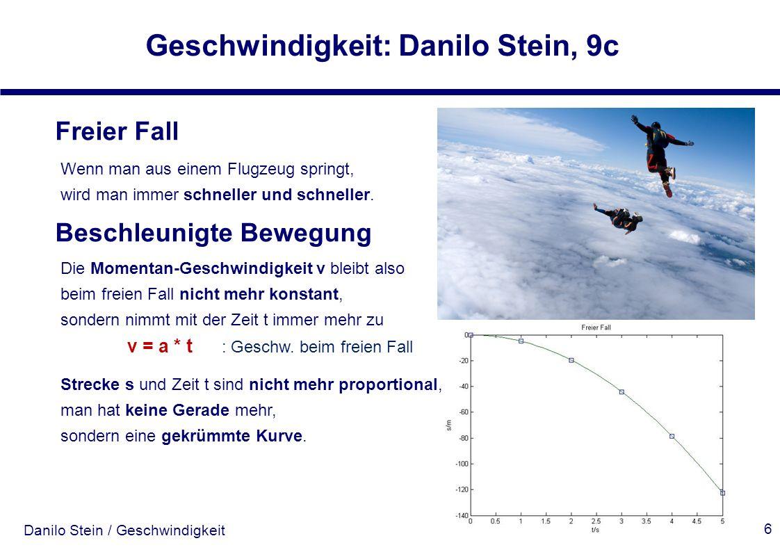 Danilo Stein / Geschwindigkeit Geschwindigkeit: Danilo Stein, 9c 6 Freier Fall Wenn man aus einem Flugzeug springt, wird man immer schneller und schne