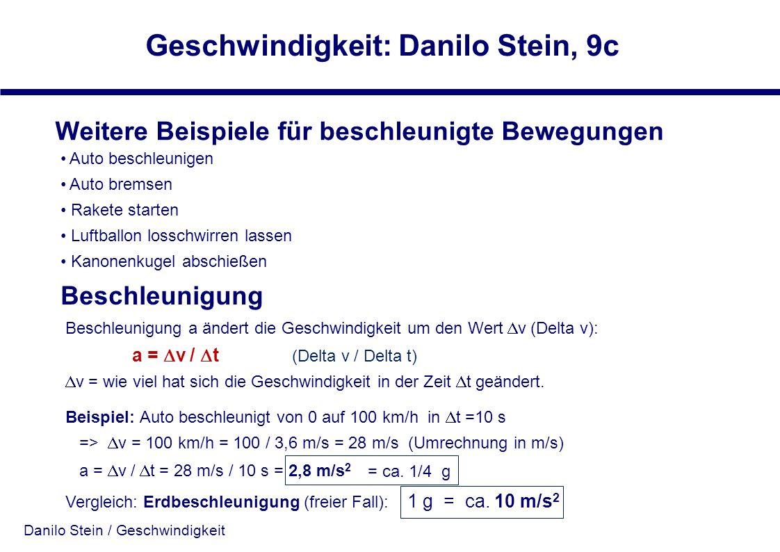 Danilo Stein / Geschwindigkeit Geschwindigkeit: Danilo Stein, 9c Weitere Beispiele für beschleunigte Bewegungen Auto beschleunigen Auto bremsen Rakete
